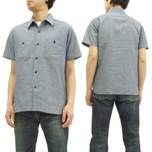 シュガーケーン ピンストライプ ワークシャツ SC37661 Sugar Cane メンズ 半袖シャツ ブルー 新品