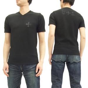 ビーアンビション VネックTシャツ Be Ambition 半袖Tシャツ ストライプジャガード ニットライク T27101 黒 新品|rodeomatubara