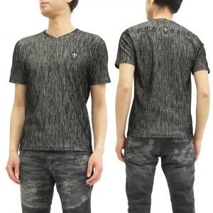 ビーアンビション 楊柳Tシャツ Be Ambition Vネック半袖Tシャツ ロゴ刺繍 T27102 黒 新品|rodeomatubara