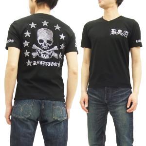 ビーアンビション VネックTシャツ Be Ambition ベア天竺 半袖Tシャツ  ラインストーンスカル T27106 黒 新品|rodeomatubara