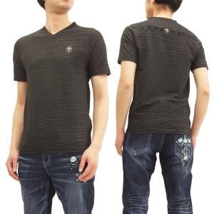 ビーアンビション Tシャツ Be Ambition  Vネック ボーダー半袖Tシャツ PUワッペン&ロゴ刺繍 T28101 黒 新品|rodeomatubara