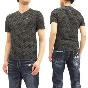 ビーアンビション Tシャツ Be Ambition 波型フリンジボーダー Vネック 半袖Tシャツ PUワッペン&ロゴ刺繍 T28104 グレー 新品|rodeomatubara