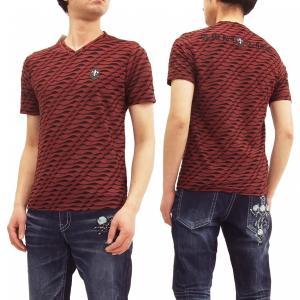ビーアンビション Tシャツ Be Ambition 波型フリンジボーダー Vネック 半袖Tシャツ PUワッペン&ロゴ刺繍 T28104 赤 新品|rodeomatubara