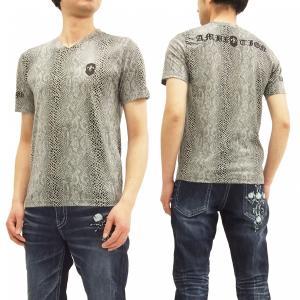 ビーアンビション Tシャツ Be Ambition パイソングラフィック 蛇柄 Vネック 半袖Tシャツ PUワッペン&ロゴ刺繍 T28105 オフ白 新品|rodeomatubara