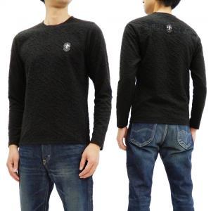 ビーアンビション 長袖Tシャツ Be Ambition 波状ふくれジャガード ニットライク ロンT PUワッペン&ロゴ刺繍 T28206 黒 新品|rodeomatubara