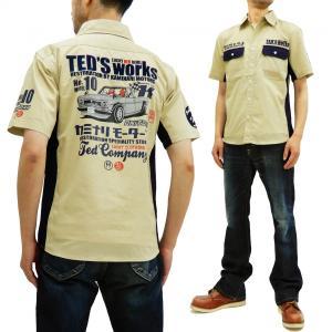 テッドマン カミナリ ワークシャツ TEDMAN 雷 コラボ 半袖シャツ ハコトラ エフ商会 TDKMS-02 ベージュ 新品|rodeomatubara