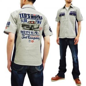テッドマン カミナリ ワークシャツ TEDMAN 雷 コラボ 半袖シャツ ハコトラ エフ商会 TDKMS-02 グレー 新品|rodeomatubara