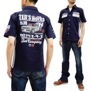テッドマン カミナリ ワークシャツ TEDMAN 雷 コラボ 半袖シャツ ハコトラ エフ商会 TDKMS-02 ネイビー 新品|rodeomatubara