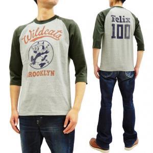 トイズマッコイ 七分袖Tシャツ フィリックス TOYS McCOY ラグラン ベースボールTシャツ TMC1944 アッシュ×黒 新品|rodeomatubara