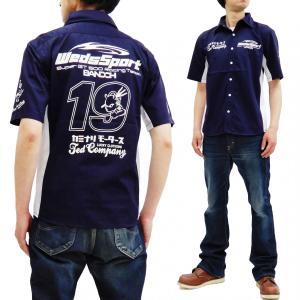 Weds Sport テッドマン カミナリ ワークシャツ エフ商会 コラボ スポーティシャツ WEDSTSC-600 ネイビー 新品|rodeomatubara