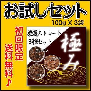 「初回限定」コーヒー豆お試しセット/極み ストレート100g×3種類のセット 焙煎したて|rokkoyo