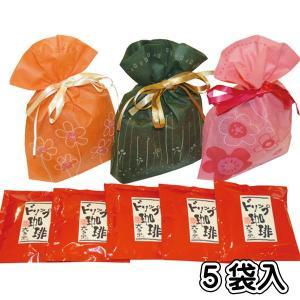 プチギフト/ドリップバッグコーヒー X 5袋入り 花柄巾着|rokkoyo