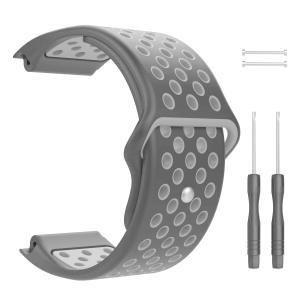 TiMOVO ガーミン Garimin Vivoactive J HR バンド 交換ベルト 腕時計ストラップ シリコン穴留め式 通気穴 柔らかい 軽量 防水 取り付け易い 調節可能 手首周囲:|rokufi