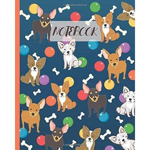 Notebook: Cute Chihuahua Cartoon & Toys - Lined Notebook rokufi