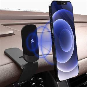【2021最新デザイン】 スマホ車載ホルダー 車載ホルダー クリップ式 マグネット 超強磁力 ダッシュボード 片手操作 デスクにも適用 スマホスタンド 車 全機種対|rokufi