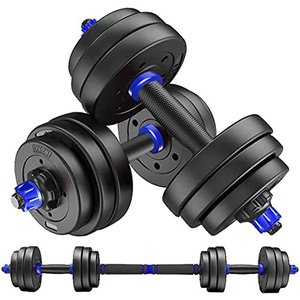 MOJEER ダンベル 可変式【最新進化版・3in1 ダブルナット】10kg 20kg 30kg 40kg 2個セット バーベルにもなる ダンベル 無臭素材 静音XK (10kg×2個セット/blue) rokufi
