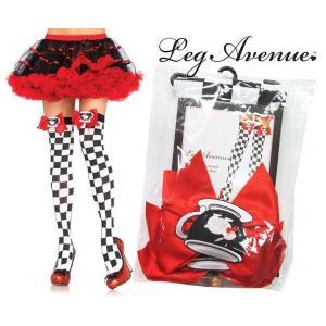 Leg Avenue(レッグアベニュー)ティーカップ&リボン付きチェックニーハイタイツ/ストッキング 6617 rollincandy
