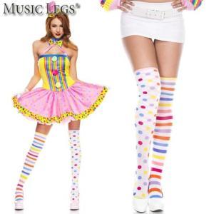 MusicLegs(ミュージックレッグ) レインボードット×ボーダー柄 左右柄違い ニーハイソックス 4605 ピエロ コスプレ 派手 カラフル ダンス衣装 サイハイ 靴下|rollincandy