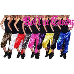 ダンサー必見! キラキラ☆メタリックドット裾絞りロングパンツ ダンス ステージ衣装 ヒップホップ レッスン着 バスパン ダボパン 大きいサイズ キッズダンス|rollincandy