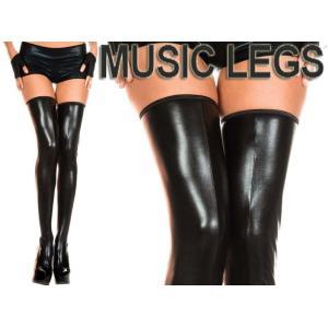 MusicLegs(ミュージックレッグ) ウェットルックサイハイタイツ/ストッキング 45112 女王様 ボンテージ 衣装 ダンス ダンサー 黒 ブラック コスチューム ニーハイ rollincandy