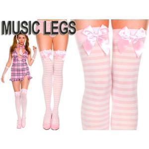 MusicLegs(ミュージックレッグ) リボン付きボーダー サイハイストッキング/タイツ 4238 ピンク ホワイト 白 ニーハイ ゴシック ロリータ ゴスロリ ダンス衣装 rollincandy