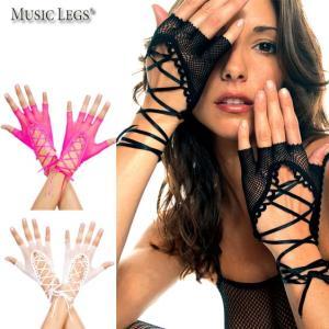 MusicLegs(ミュージックレッグ) フィンガーレスフィッシュネットレースアップショートグローブ413 ブラックレッドホットピンク手袋ダンス衣装パンクゴスロリータ rollincandy