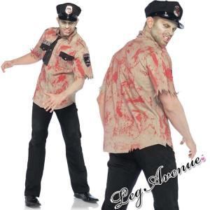 期間限定SALE!メンズ Leg Avenue(レッグアベニュー) ポリスゾンビコスチューム3点セット 83889 ハロウィン コスプレ 男性用 大人 警察官 シャツ 帽子 ネクタイ rollincandy