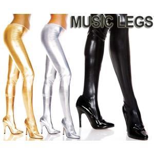 MusicLegs(ミュージックレッグ) ウェットルックストッキング/タイツ 36112 ゴールド シルバー ブラック 黒 ボンテージ 女王様 メタリック パンスト ダンス衣装 rollincandy