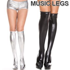 MusicLegs(ミュージックレッグ) ウェットルックニーハイストッキング/タイツ ML5879 ブラック シルバー ソックス 靴下 メタリック ダンス衣装 ボンテージ 女王様 rollincandy