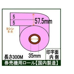 ポイント2倍! 券売機 ロール紙  5巻入り ピンク ミシン有り 幅57.5mm 長さ300M 食券 感熱ロール サーマルロール チケットロール 発券機 5:5|rollpaper-net