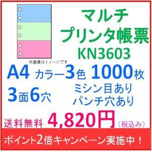 ポイント2倍!ミシン目入り マルチプリンタ帳票 カラー3色 A4 パンチ穴有り 3面6穴  1000枚入り KN3603|rollpaper-net