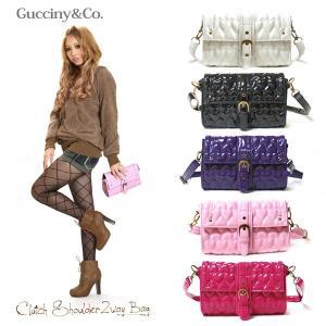ショルダーバッグ レディース クラッチ 2wayバッグ Gucciny&Co エナメル 可愛いハートキルティング romanbag