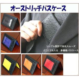 パスケース 定期入れ 薄型カードケース 高級感あるオーストリッチ調型押し 外側黒 メール便可|romanbag