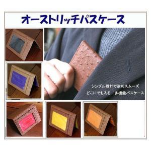 パスケース 定期入れ 薄型カードケース 高級感あるオーストリッチ調型押し 外側茶 メール便可|romanbag