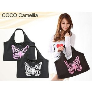 大きい蝶々ワンポイント トートバッグ ビジネスサブバッグ COCO camellia ココカメリア メール便可|romanbag