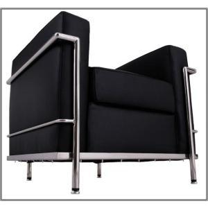 イタリア本革  デザイナーズソファの定番 ル・コルビジェ シリーズ GRANDComfort 1人掛けソファ LC2 1P ブラック|romanbag