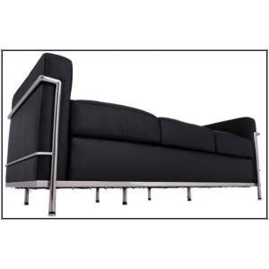 イタリア本革 デザイナーズソファの定番 ル・コルビジェ シリーズ GRANDComfort 3人掛けソファ LC2 3P ブラック romanbag