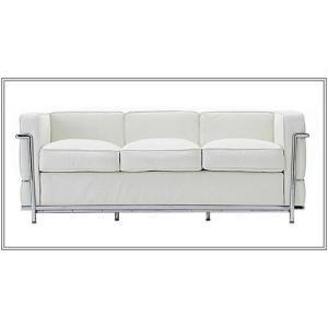 イタリア本革 デザイナーズソファの定番 ル・コルビジェ シリーズ GRANDComfort 3人掛けソファ LC2 3P ホワイト romanbag