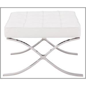 イタリア本革 デザイナーズソファ バルセロナチェア Barcelona chair シリーズ オットマン ホワイト|romanbag