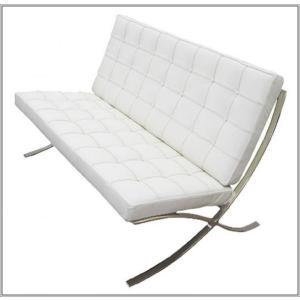 イタリア本革 デザイナーズソファ バルセロナチェア Barcelona chair シリーズ 2人掛け ホワイト|romanbag