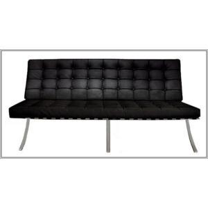 イタリア本革 デザイナーズソファ バルセロナチェア Barcelona chair シリーズ 3人掛けブラック romanbag