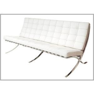 イタリア本革 デザイナーズソファ バルセロナチェア Barcelona chair シリーズ 3人掛け ホワイト romanbag