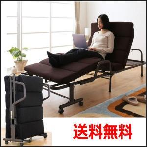 一人暮らし 来客用 病院の付添等便利な折りたたみベッド もこもこリクライニング ベッド|romanbag