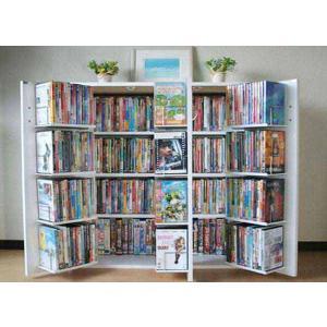 木製 CD DVD ラック 最大400収納 コミック棚 書棚 ストッカー ドア付き 収納庫 薄型 省スペース 日本製 W90×H90cm  白|romanbag