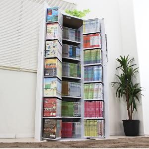 木製 CD DVD ラック 最大440収納 コミック棚 書棚 ストッカー ドア付き 収納庫 薄型 省スペース 日本製 W60×160|romanbag