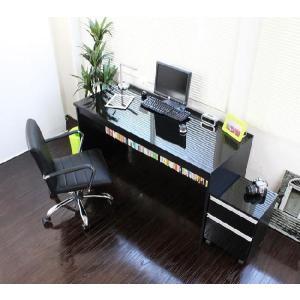 〔送料無料〕下書棚付 日本製  パソコンデスク2点セット 鏡面仕上げ w140cm 黒|romanbag