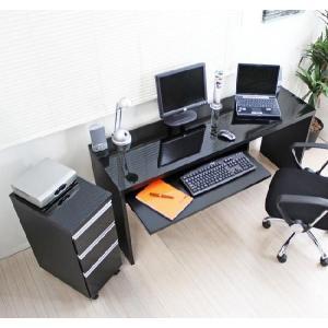 〔送料無料〕下書棚付 日本製 スリムパソコンデスク2点セット スライドテーブル付き w150×45cm 鏡面仕上げ 黒|romanbag