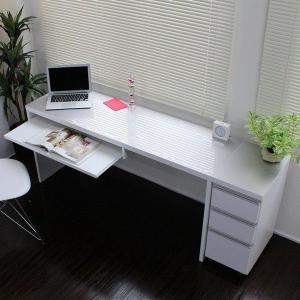 〔送料無料〕下書棚付 日本製 スリムパソコンデスク2点セット スライドテーブル付き w150×45cm 鏡面仕上げ 白|romanbag