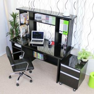 日本製 上下大型書棚付き パソコンデスク2点セット 幅150cm  鏡面仕上げ 黒|romanbag