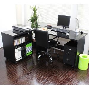 日本製 パソコンデスク3点セット ダブルデスク PCデスク 書斎 机 w120+60cm 鏡面仕上げ 黒 romanbag